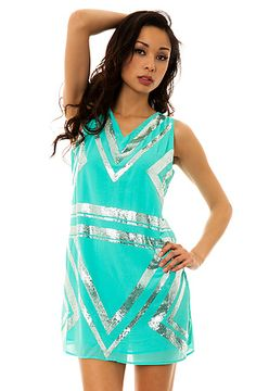 The Gold Beaded Shift Dress in Mint>