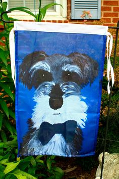 Schnauzer Garden Flag, Schnauzer lover gift, Pet Lover Gift Schnauzer with bow tie Schnauzer Art, Miniature Schnauzer, Gifts For Pet Lovers, Pet Gifts, Poor Dog, Garden Flags, Outdoor Fabric, I Love Dogs, Pup