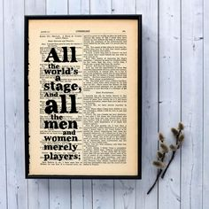 "Shakespeare quote ""all the world's a stage"" framed typographical art p – Bookishly"