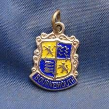Vintage Sterling Silver & Enamel Travel Shield Charm BOURNEMOUTH  England