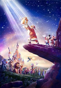 Santa is welcoming christmas to Disney