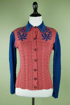 616f654188e 1930 s Cardigan - 30 s Knit Sweater - Celluloid Buttons - Floral Design -  Colorblock - Wool Blend Knit - Vintage Sweater