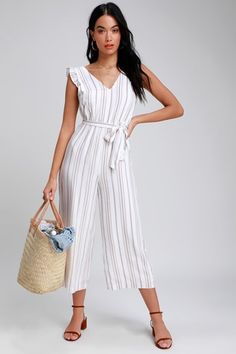 e3795c0137c Cape Cod Cutie Taupe and White Striped Jumpsuit Lush Clothing
