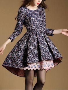 Attrayante robe skater mode en spandex bleu impression devant court et  derrière long imprimé fleuri col rond 415098806521