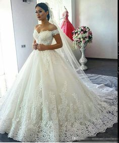 0056d5e0aea4c9 Discount 2017 New Luxury Arabic Off The Shoulder Lace A Line Wedding Dresses  Tulle Lace Applique Court Train Garden Western Country Wedding Gowns Wedding  ...