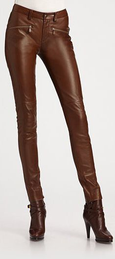 Ralph Lauren's Slim-Cut Leather Pants in Brown ~ I'd like them with Flat Boots, a Long Sweater & Short Jacket (But I live in Florida, Oh well ツ )