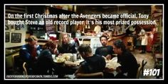 """""""On the first Christmas after the Avengers became official, Tony bought Steve an old record player."""" [headcanon submitted by captaincuteandcuddly] Marvel Memes, Marvel Avengers, Marvel Comics, Avengers Humor, Marvel Funny, Avengers Headcanon, Old Record Player, Superfamily, Marvel Characters"""