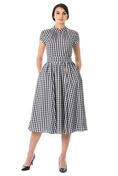 Love this style - another way to do gingham that doesn't say garden party. Mandarin collar gingham check print crepe dress from eShakti #plussize #plushsize