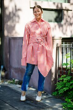Try gingham, a typical springtime print, in an unexpected style.