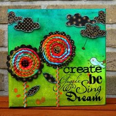 mixed media canvas art DIY...darling! Have seen this type of thing for sale recently in shops. Very cute.