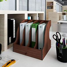 Amazon.com : Natwind Office Wood Paper Organizer for Desk Folder Storage File Holder Desk Organizer Letter Tray & A4 Paper Holder Document Storage Rack for Home Office School(4-Tier) : Office Products Desktop Storage, Desktop Organization, Paper Organization, Desk Paper Organizer, Magazine File Holders, Shelf Paper, Magazine Files, Letter Tray, Office Paper