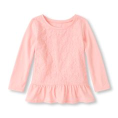 Long Sleeve Lace Peplum Top   The Children's Place