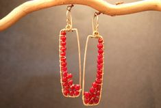 Bohemian 80 Hammered rectangles with Rubies