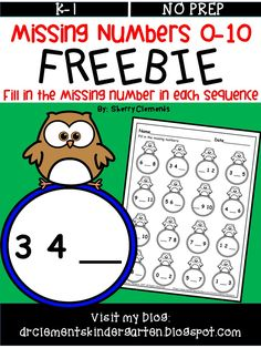 FREEBIE Missing Numbers 0-10 - Students fill in the missing number in each sequence - kindergarten, first grade - math centers - small groups, and so much more $