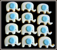 Mini PolkaDot Elephant cookies for Baby Showers or by 3CSC on Etsy, $24.99