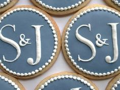 bride and groom's initial cookies!