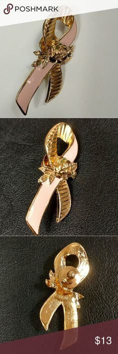 """Vintage Avon Pink Ribbon pin with rose 1993-1994 This lapel pin was by Avon for """"Better Breast Care"""" pink enamel and gold tone with a gold tone rose.    Profits of the sale will be donated to Army of Women, a breast cancer research organization. Vintage Jewelry Brooches"""
