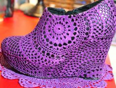 Dye a vintage hand crochet doily; adhere to shoe cut, seal. diy designer, redesign wedge heels; Upcycle, Recycle, Salvage, diy, thrift, flea, repurpose, refashion! For vintage ideas and goods shop at Estate ReSale & ReDesign, Bonita Springs, FL