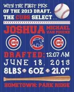 MLB Chicago Cubs Baseball Wall Art Birth by FaithFamilyFunDesign