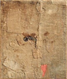 Alberto Burri, Sacco L.A., 1953. Burlap and acrylic on canvas, 39 5/16 x 33 7/8 in. Fondazione Palazzo Albizzini, Collezione Burri, Città di Castello, Italy.
