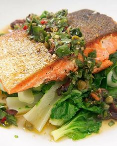 Low FODMAP Recipe and Gluten Free Recipe - Pan fried salmon with sauce vierge  http://www.ibssano.com/low_fodmap_salmon_sauce_vierge.html
