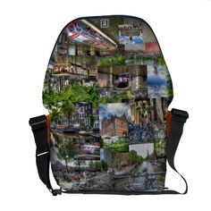 Amsterdam Collage - Sights and Scenes of Amsterdam Courier Bags. There are many scenes showing typical views of central Amsterdam. They include, of course, canals and bicycles, boats and barges, buildings and bronzes. All this on a base using the orange of The Netherlands. It's a fantastic and practical souvenir of your visit to Amsterdam. Wha...read more