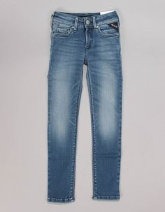 These faded light wash jeans from Replay have a classic five pocket design with dark blue stitching. The super slim fit jeans have a zip fly, rivets to the front pockets. Free UK delivery on orders over Replay Jeans, Bonfire Night, Light Wash Jeans, Junior Outfits, Super Skinny, Autumn Essentials, Girls Coats, Skinny Jeans, Free Uk