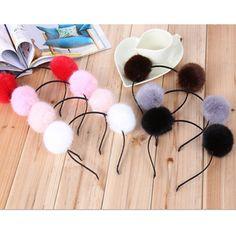 Fashion Women Party Rabbit Cute Headband Hairband Fluffy Fur Ball Double    eBay