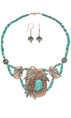 Single-Strand Necklace and Earring set with Kato Polyclay™ and Turquoise Gemstone Beads