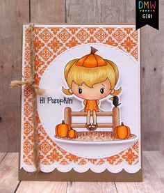 It's my day to post at Digi My World and I am sharing this cute card. I used the Pumpkin Patch Cuties digital stamp set. Mambi Stickers, Autumn Cards, Alphabet Book, Treat Bags, Digital Stamps, Cricut Ideas, Blossoms, Bugs, Cool Designs