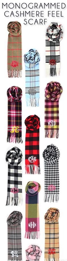 Monogrammed Cashmere Feel Scarf from marleylilly.com!