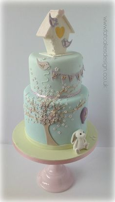 Bunny cake - For all your baby cake decorating supplies, please visit http://www.craftcompany.co.uk/occasions/new-baby-christening.html