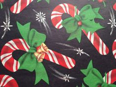 Vintage Christmas Wrapping Paper - Cascading Candy Canes - Bows Bells Black Background - 1 Unused Full Sheet Christmas Gift Wrap