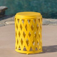Serenity Outdoor 12 Inch Diameter Matte Iron Side Table Yellow Small Outdoor Table Yellow Outdoor Furniture Side Table