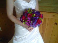 Bold jewel toned bridal bouquet.