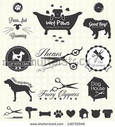 Make one special photo charms for your pets, 100% compatible with your Pandora bracelets. Vector Set: Pet Grooming Labels