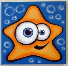 sTAR FiSH - 10 x 10 original acrylic painting on canvas for kids rooms, nursery art, fish painting Painting For Kids, Drawing For Kids, Painting & Drawing, Art For Kids, Holi Drawing, Kids Canvas, Canvas Art, Easy Paintings, Acrylic Painting Canvas