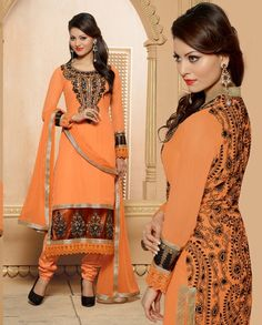 Orange long suit with black embroidery on back   1. Orange embroidered georgette long suit 2. Comes with matching bottom and dupatta3. Can be stitched upto bust size 42 inches