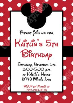 DIY Minnie Mouse 3 Red PRINTABLE Birthday party Invitation red black polka dots