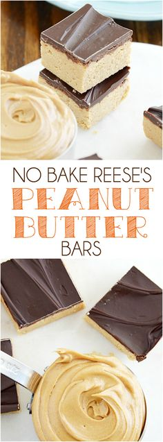 Easy No Bake Reese's Peanut Butter Bars in just a few minutes! This could be a dangerous recipe...