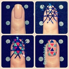 Criss-cross nail tape! Fun bright nail look!