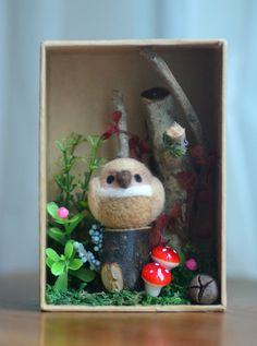 Woodland owl diorama handmade bird figurine in by NozomiCrafts