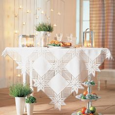 07 Toalhas de mesa de crochê natalinas - Artesanato Brasil