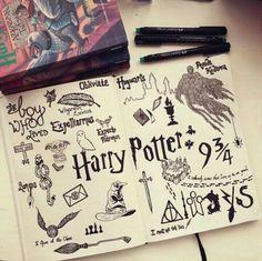 Sketbook-Esse me chamou a atenção pelo fato de eu ser muito fã de Harry Potter e de tudo que engloba esse filme.Símbolos e performas desse assunto de interessam muito , pois adoro descobrir o que cada um significa.