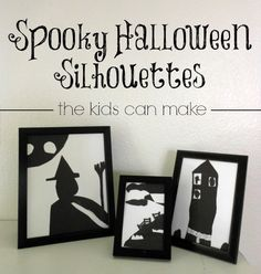 Love these easy to make, fun Halloween silhouettes. The creating is good, the end product is great! Halloween Arts And Crafts, Halloween Activities For Kids, Halloween Games, Holidays Halloween, Spooky Halloween, Holiday Crafts, Halloween Stuff, Art Activities, Happy Halloween