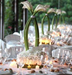 La purezza delle calle, le linee essenziali e pulite di un wedding day white and green.
