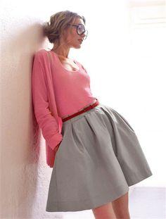 Débardeur et gilet maille fine coton coloris rose chiné et jupe danseuse coton coloris gris souris