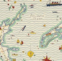 // Map Wallpaper, Out To Sea, Art Drawings, Typography, Ralph Lauren, Design Inspiration, Husband, Maps, Graphics
