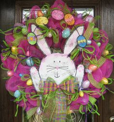 Deco Mesh EASTER BUNNY WREATH by decoglitz on Etsy,