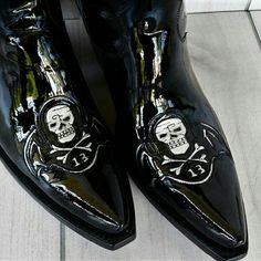 """NIB Liberty Boot Co Carol Negro Patent Tall Boot Brand new. Patent leather with tooled skulls.   100%handmade in Mexico  15.5"""" height  3"""" heel  13.5"""" shaft circumference Liberty Shoes Heeled Boots"""